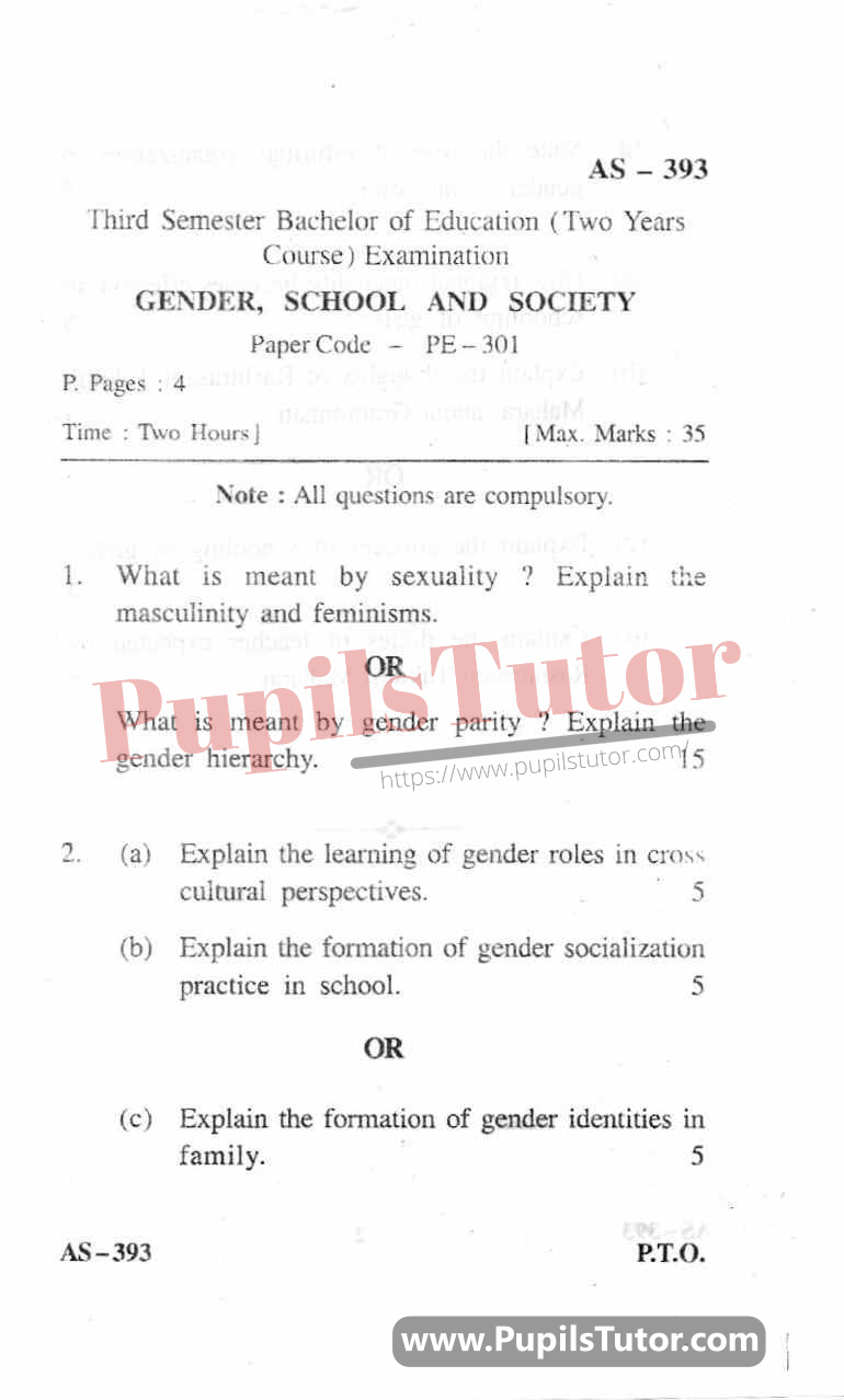 Gender School And Society Question Paper In English