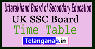 Uttarakhand 10th Time Table 2018