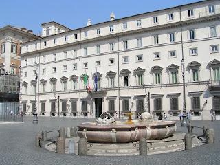 The Palazzo Chigi in Rome was built originally for the  Aldobrandini family before passing to the Chigi family in 1659