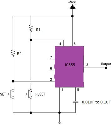 IC 555 bistable circuit with push buttons
