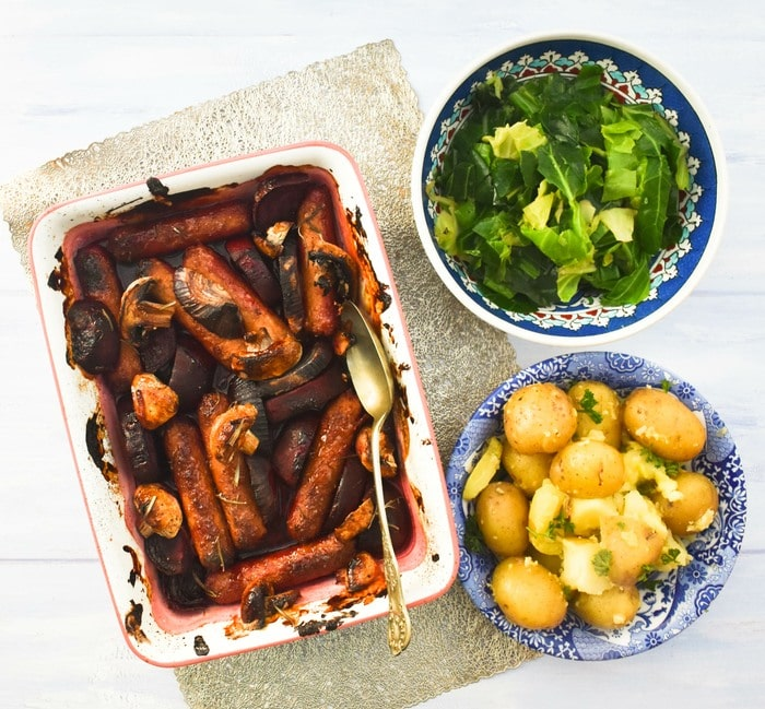 sausage bake with potatoes and spring greens