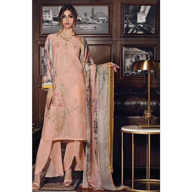 Gul Ahmed Mid summer collection Peach color jacquard suit