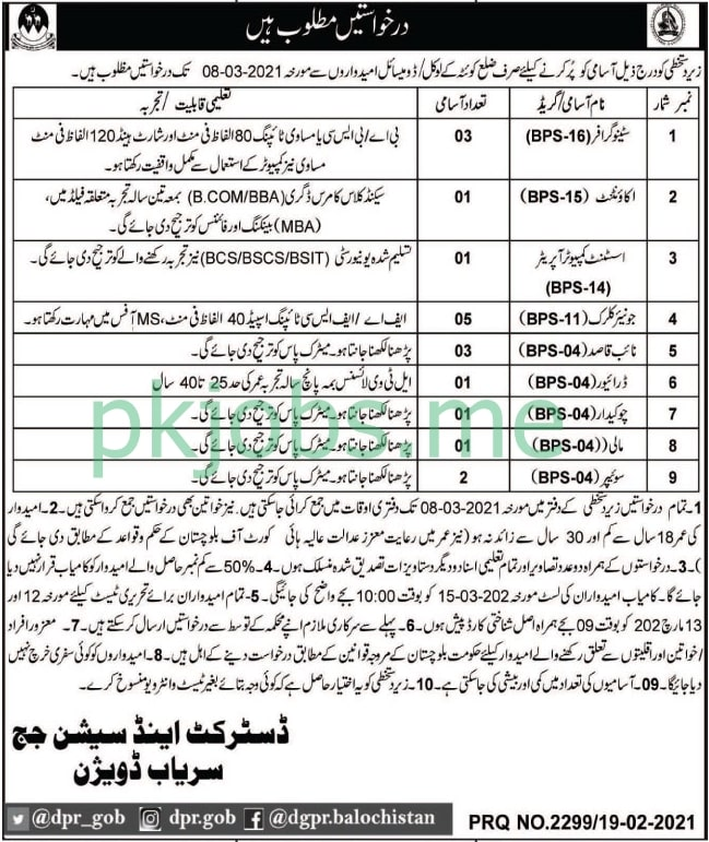 Latest District & Session Court Sariab Division Posts 2021