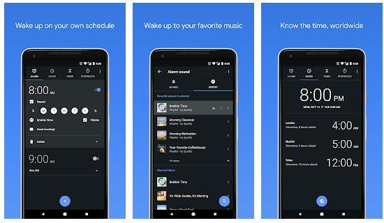 4. Google Clock متزامنة مع Spotify: لتغيير قائمة التشغيل كل صباح