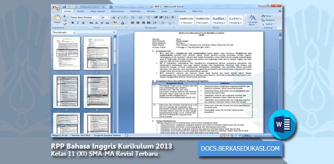 RPP Bahasa Inggris Kurikulum 2013 Kelas 11 (XI) SMA-MA Revisi Terbaru Tahun 2019-2020