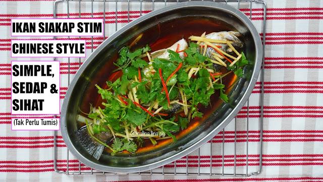 ikan stim, ikan stim chinese style, resepi chinese new year, ikan siakap kukus, ikan kukus sedap,