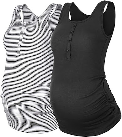 Cheap Sleeveless Maternity Tank Top with Front Button & Side Ruched  |  Summer Nursing T Shirt  |  Casual Pregnancy Clothes