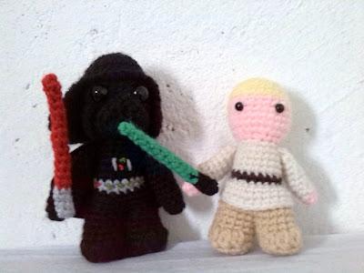 crochet amigurumi star wars little darth vader luke skywalker