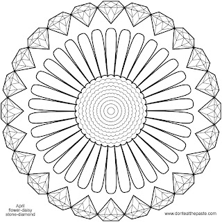 Daisy and diamonds mandala to color