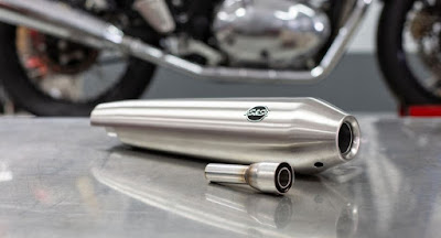 Sleek looking S&S muffler for Royal Enfield 650 twins.