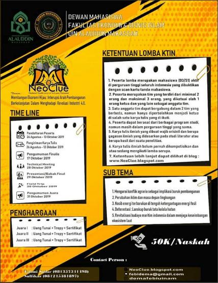 Lomba Karya Tulis Ilmiah Nasional NeoClue UIN Alauddin Makassar 2019 Mahasiswa