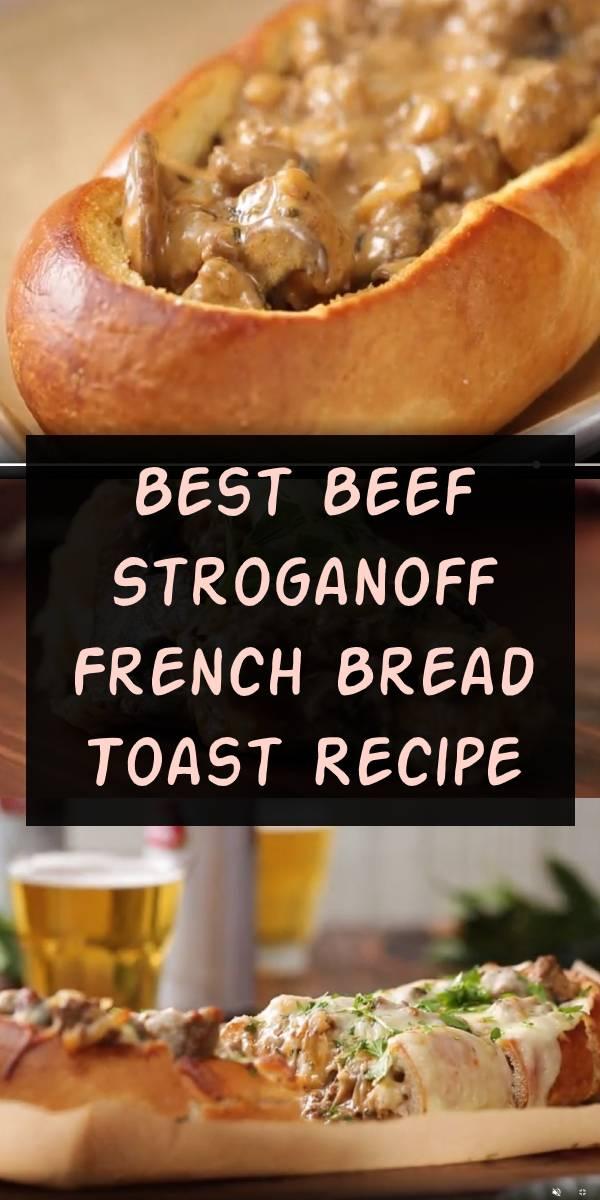 Best Beef Stroganoff French Bread Toast Recipe | Why serve beef stroganoff with a side of French bread when it's so much tastier served inside the French bread?  #beef #stroganoff #frenchtoast #beefstroganoff