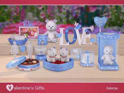 Valentine's Gifts Подарки на День св. Валентина для The Sims 4 Симпатичные подарки ко дню Святого Валентина. Три цветовых палитры (красный, розовый и синий), 3-5 цветовых вариаций для каждого объекта. Предметы в наборе: - три вида медвежат - две вырезанные настольные скульптуры - рисунки - конфеты - кекс - шоколадный трюфель - плюшевые сердечки в корзине - два вида сердец под стеклом - сердце в стакане. Автор: soloriya