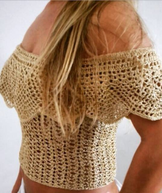 Patrón #1744: Blusa Campesina a Crochet