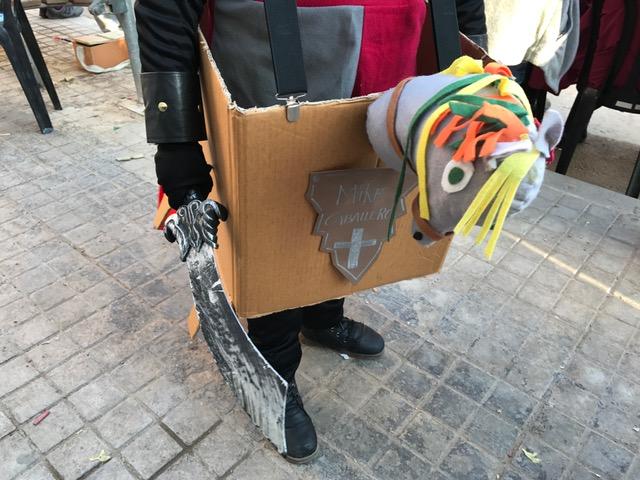 Disfraz caballero niños caballo cartón