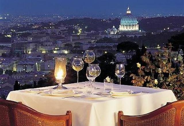 Restaurante romântico em Roma