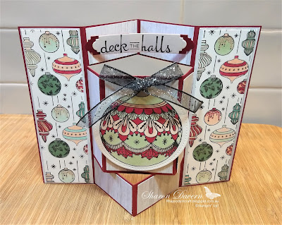 Beautiful baubles, stampin' up, Christmas cards, fancy folds, Art with heart