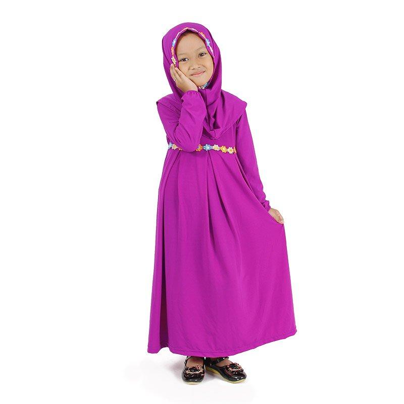 gamis anak simple warna ungu