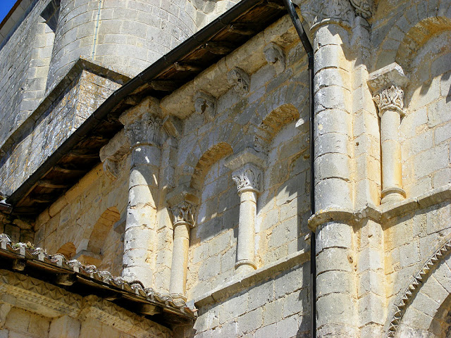 Blind arcading on the Church of Saint Maurice in La Clouere, Vienne. France. Photographed by Susan Walter. Tour the Loire Valley with a classic car and a private guide.