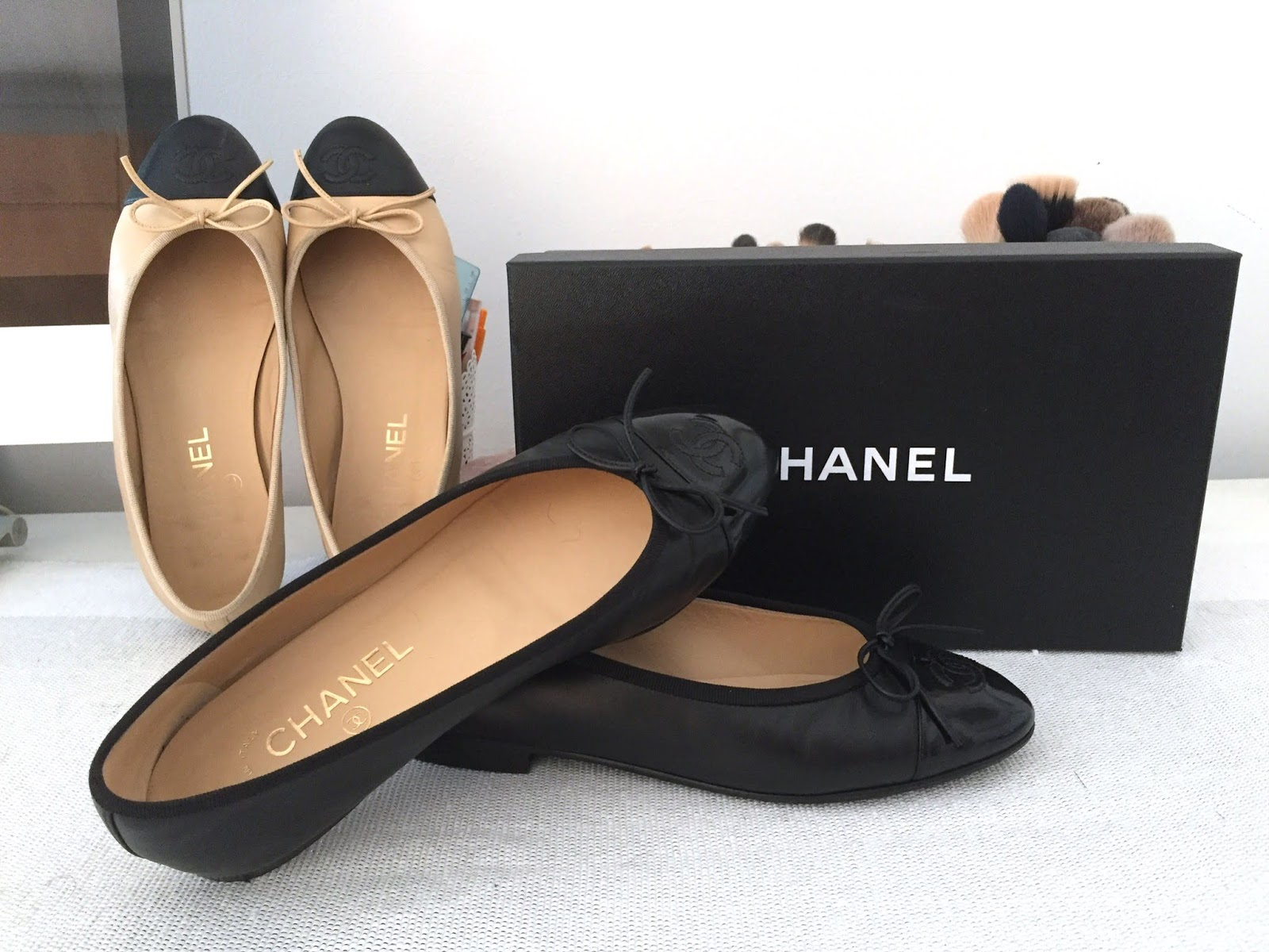 77ab9be1cbd0b My very first pair of designer shoes were the classic Chanel Ballet Flats  in lambskin, beige with black toe cap. I loved them right when I tried them  on in ...