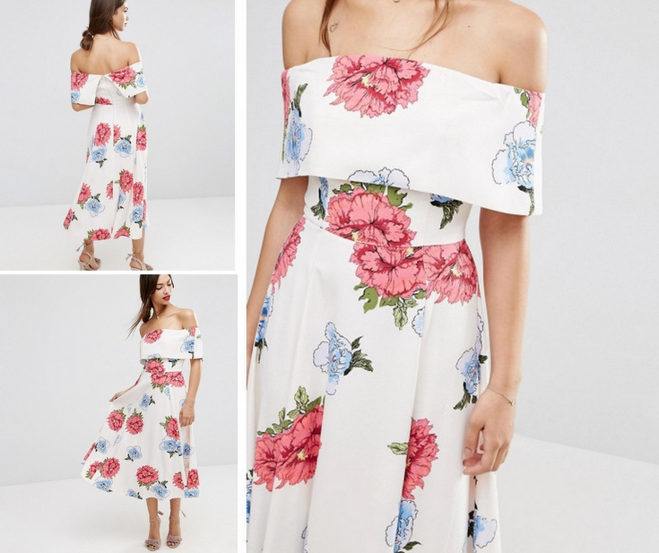 37bb3f6abb ASOS Women s Multicolour Premium Off The Shoulder Bardot Midi Prom Dress In  Garden Floral