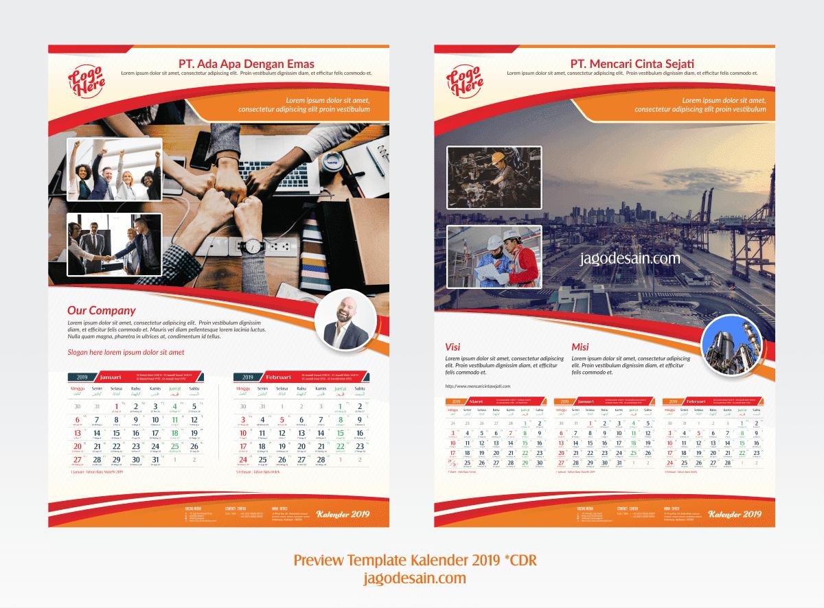 Download 10 Template Kalender 2019 CDR Lengkap Vector ...