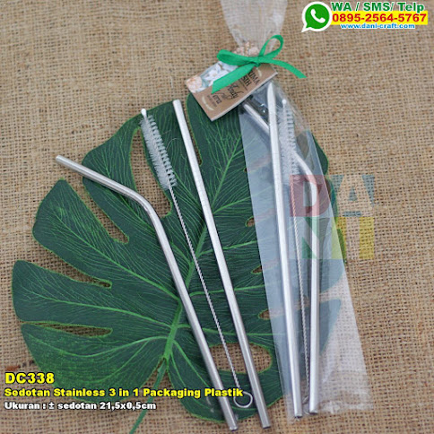 Sedotan Stainless 3 In 1 Packaging Plastik