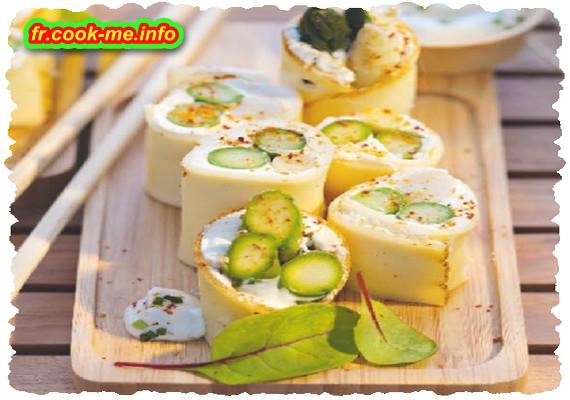 Bouchée d'asperges, piment d'Espelette et fromage