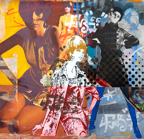 An pop art collage artwork by artist James Straffon depicting fifty years of Vogue magazine 1916-1966