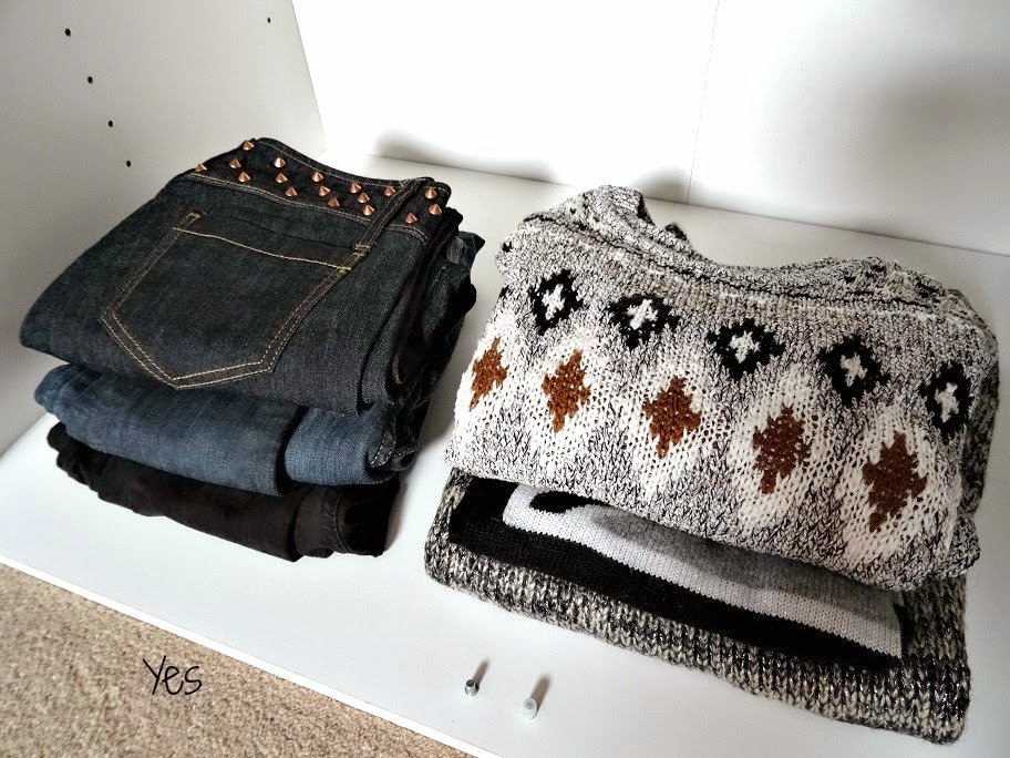 Jumpers and jeans organisation in your wardrobe