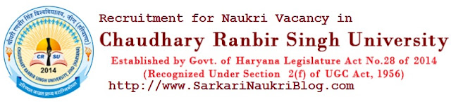 Naukri Vacancy Recruitment CRSU Jind Haryana