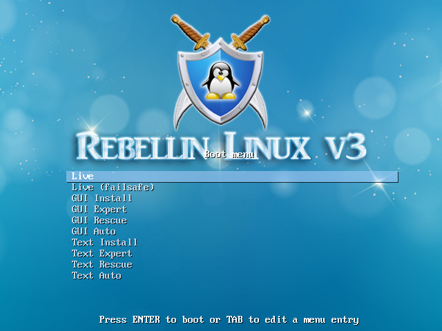 Live CD boot menu