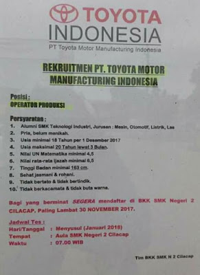 Loker Toyota Motor Manufacturing Indonesia