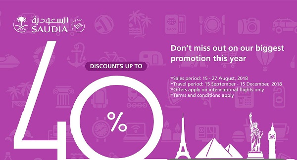 SAUDIA OFFERS DISCOUNT UPTO 40 PERCENT ON SOME FLIGHTS