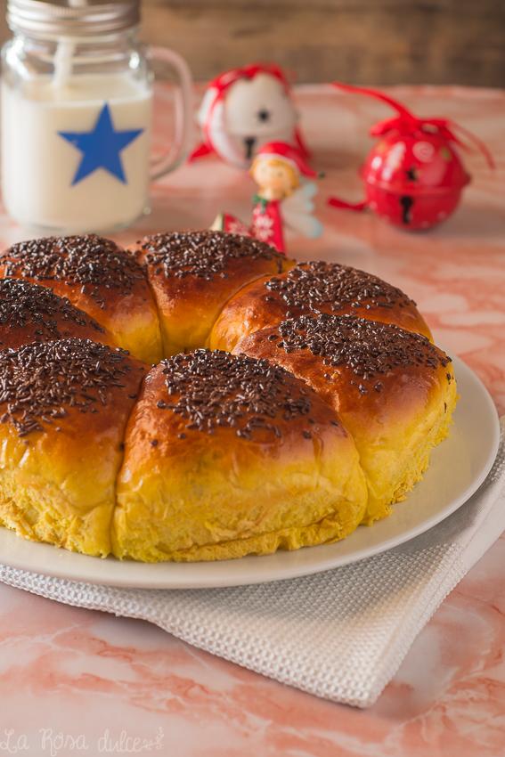 Roscón de Reyes de calabaza relleno ce crema de cacao y avellanas #sinlactosa #navidad