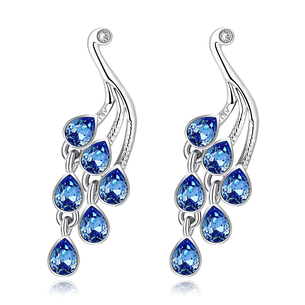 Some Most Beautiful Blue Zirconia Pearl And Diamond Earrings