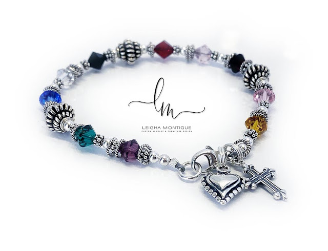 This Psalm 23 Bracelet™ is shown with colorful 6mm bicone or diamond, round and square shaped Swarovski crystals with sterling silver balls and spacer beads.
