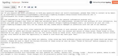 Cara Mudah Membuat Disclaimer Untuk Blogger - Cara Memasukkan Kode Disclaimer Ke Blog