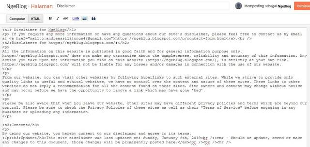 Cara Membuat Disclaimer di Blog (Adsense Part 1)