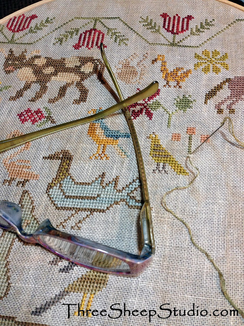 'His eye is on the Sparrow' counted cross stitch design by Beth Twist of Heartstring Samplery