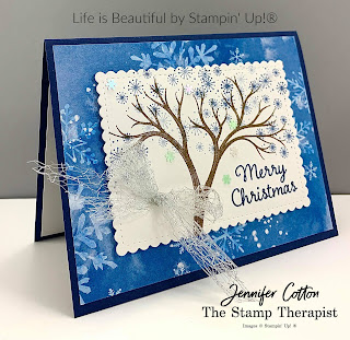 Christmas card using Stampin' Up!®'s Life is Beautiful stamp set plus Celebration Tidings.  The designer paper is Snowflake Splendor.  The dies are Stitched So Sweetly. The ribbon is the Metallic Mesh Ribbon.  We also used the Snowflake Sequins.  #StampinUp #StampTherapist