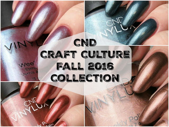 CND Fall 2016 Craft Culture Collection Swatches Review Denim Patch Oxblood Brick Knit Patina Buckle Fern Flannel Brass Button Leather Satchel Hand Fired
