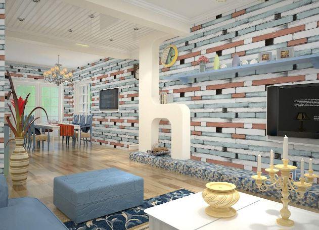 Wollzo Multi Colour Brick Self Adhesive Wallpaper