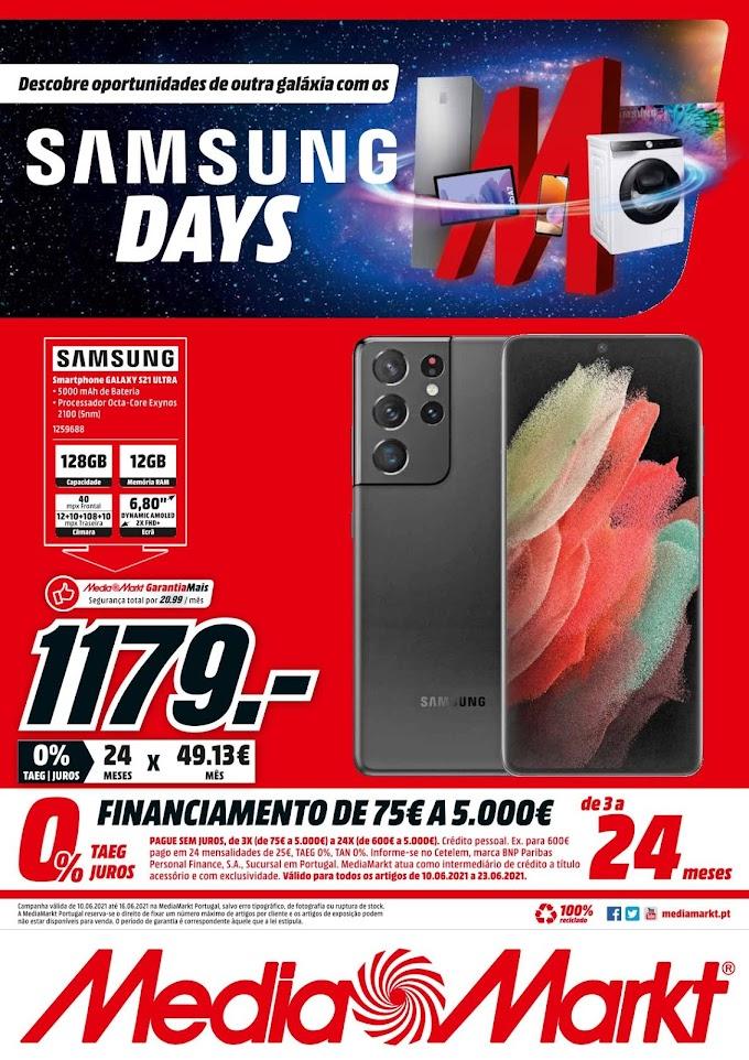 """Folheto MEDIA MARKT - """"Samsung Days """" numa seleção de produtos com promoções até 16 de junho"""