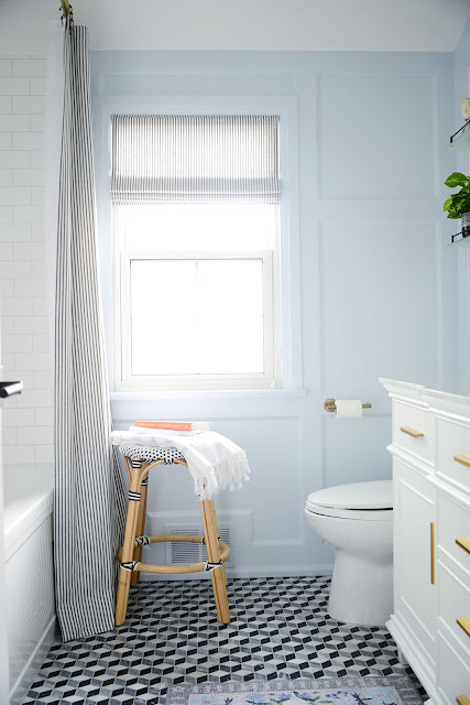 French blue bathroom makeover
