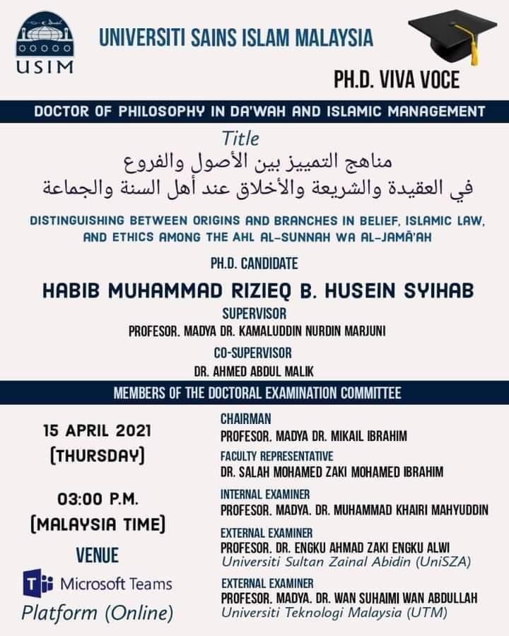 Sidang Online di Penjara, Habib Rizik Selesaikan Program Doktoral di USIM Malaysia