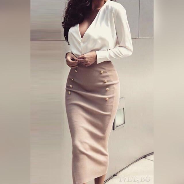 Μακρυμάνικο άσπρο με μπεζ σύνολο SALI - Πουκάμισο και φούστα