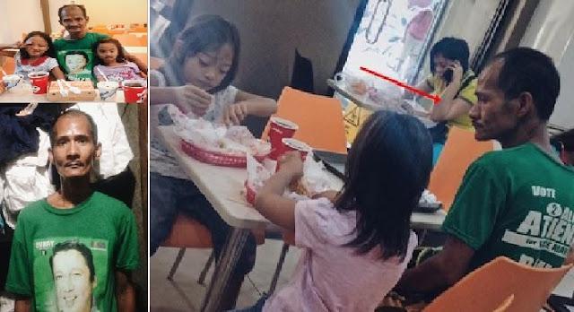Kisah haru dibalik foto pria yang pandangi anak-anaknya Makan. Jangan Mewek ya baca kisah ini !