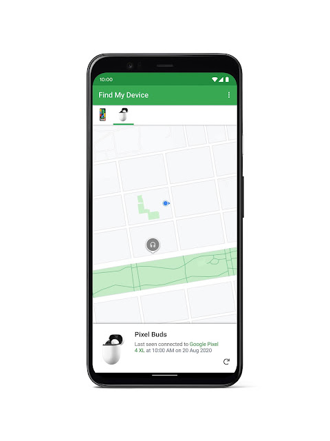 A phone showing Find My Device with last known location of Pixel Buds on a map