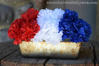 red white and blue flowerpot